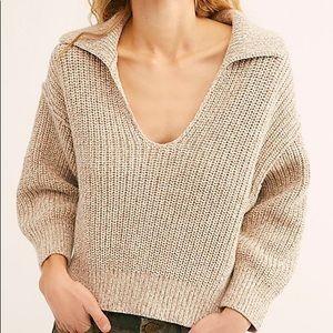 Free People Cream Collared Sweater